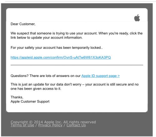 Appleからの迷惑メール