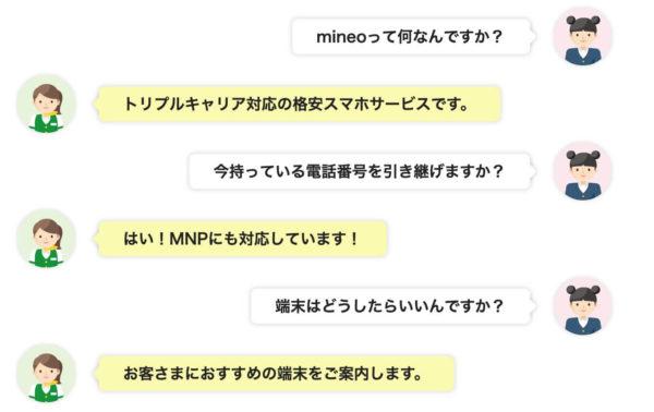 mineo(マイネオ)はサポートが充実